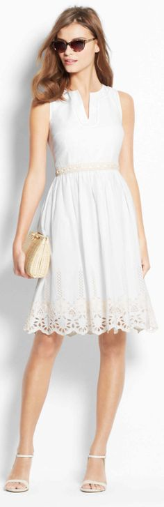Shop Ann Taylor for effortless style and everyday elegance. Our Floral Embroidered Dress is the perfect piece to add to your closet. Trendy Dresses, Dresses For Sale, Cute Dresses, Beautiful Dresses, Casual Dresses, Kentucky Derby Dress, Foto Real, White Dress Summer, Sweet Dress
