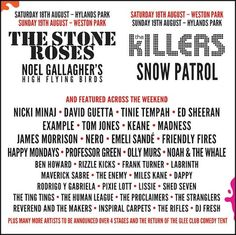 V Festival line-up. The Sunday night headliners would sell this to me alone...if I could afford it.
