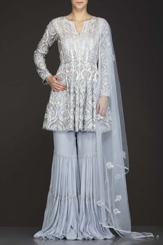 Grey Organza Peplum Top With Frill Grey Sharara And Net Dupatta With White Resham Embroidery Peplum Top Outfits, Indian Dresses Traditional, Sharara Designs, Pakistani Formal Dresses, Bridal Lehenga Collection, Party Wear Dresses, Long Blouse, Indian Outfits, Designer Dresses
