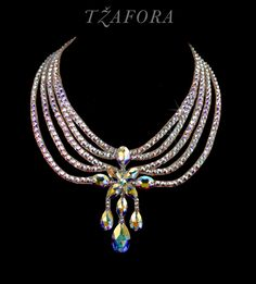 """That Old Feelin'"" - Swarovski ballroom necklace. Ballroom dance jewelry, ballroom dance dancesport accessories. www.tzafora.com Copyright © 2016 Tzafora."