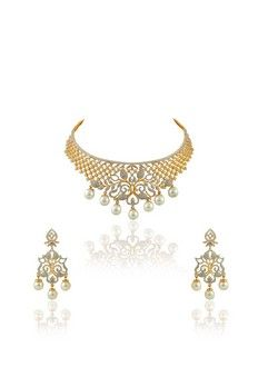 American diamond chokar set in two tone plating with pearl dangling's from #Benzer #Benzerworld