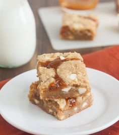 Salted Pumpkin Caramel White Chocolate Cookie Bars by Tracey's Culinary Adventures.