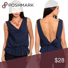 Navy Blue Open Back Chains Detailing Chiffon Top New with tags. This cool sleeveless chiffon top features a shirred blouson waist with cowl neckline and low v-back detailing. Also comes in peach listed separately.                                                             100% polyester.                                                               Made in USA.                                                              PRICE IS FIRM UNLESS BUNDLED.                            ❌SORRY, NO…
