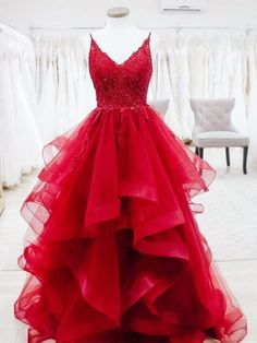 Charming v neck tulle beaded ruffles ball gown prom dresses UH408