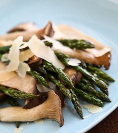 roasted king trumpet mushrooms with asparagus.
