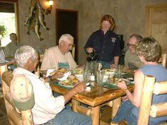 White Pine Lodge dining room. Talia Lesard serving Jim Mccreey, Bob Elders, Gene and Davie Felty.