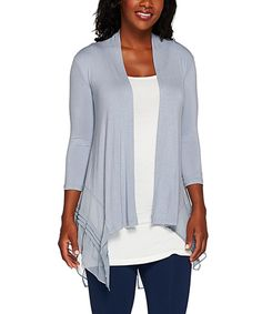 Another great find on #zulily! Brook Chiffon-Trim Open Cardigan - Petite & Plus by LOGO by Lori Goldstein #zulilyfinds
