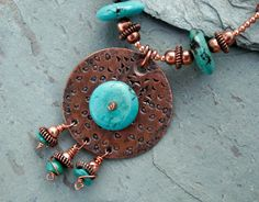 Necklace of Copper and Turquoise by UniversalLemurCo on Etsy, $59.00