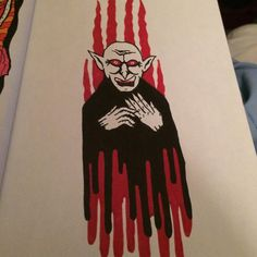 Little black and red #doodle #doodles #doodleart #illustration #art #sharpie #sharpieart #horror #vampire #nosferatu #rendr #cresecentrendr