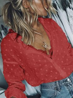 Fashion V-Neck Long Sleeve Casual Shirts Blouses – chicvoss Color Borgoña, Babe, White Long Sleeve, Ladies Dress Design, Daily Fashion, Types Of Sleeves, Shirt Blouses, Blouses For Women, Casual Shirts