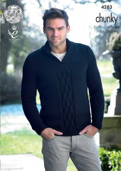 Mens Sweater and Slipover Knitted with New Magnum Chunky - King Cole