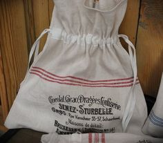 linen bag antique grainsack French stencil by linenandwood on Etsy, €24.00