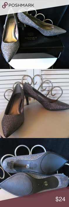 NEW UNUSED Metallic Pewter Silver Glitter Pumps Monet Metallic Pewter Glitter Pumps Size: 7.5B Condition: Excellent, unused in original box. Monet Shoes Heels