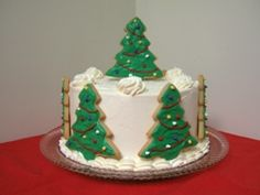Christmas Cake, using Ann Clark Tree cookie cutters