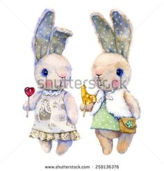 Watercolor illustration of two cute, fluffy bunny girls in dresses and candy in the legs. - stock photo