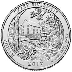 A Philadelphia minted Ozark National Scenic Riverways Quarter . The Ozark National Scenic Riverways Quarter is the third of the 2017 America the Beautiful Quarters from the U. Ozark National Park, National Parks, Silver Coins For Sale, Gold Coins, Frederick Douglass, Bullion Coins, Silver Bullion, Rhode Island, Isla Ellis