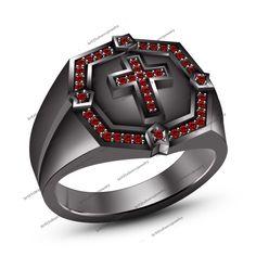 14k Gold FN 925 Silver Red Garnet Men's SPL Biker Cross Bible Christian Ring #br925 #CrossRing