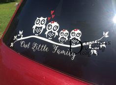 Owl Family Vinyl Stickers Decals Car Truck Suv Cute Bow Wall Home - Owl family custom vinyl decals for car