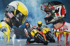 Motorcycle Racers, Motorcycle Art, Yamaha Motorcycles, Old Bikes, Poster Prints, Art Prints, World Championship, Limited Edition Prints, Motorcycle Helmets