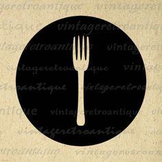 Printable Image Fork Icon Digital Food Kitchen Graphic