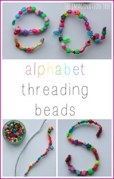Use pipe cleaners and threading beads as a fun, multi-sensory way to learn letters of the alphabet and feel the way that they are formed with your fingers!