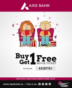 Steal the Deal: Book your movie using your Axis bank cards at Fastticket & get 1 absolutely free*. Offer: http://fastticket.in/other/special-offers