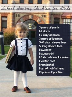 For the younger ones :) Back to School Clothing Checklist for Girls