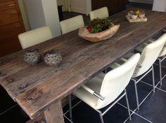 Eettafel oude eiken treinwagonplanken Dining Table, Rustic, Furniture, Home Decor, Country Primitive, Decoration Home, Room Decor, Dinner Table, Retro