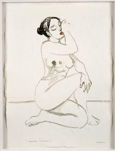 ABRAZO TATUADO. 75 x 57 cm. Nogalina y tinta china sobre papel. 1.200 €