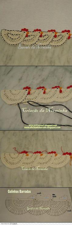 "3 barradinha galinha crochet: ""make single one for potholder"", ""This looks like a very old-fashioned edging, something my grandmother would have…"", "" Filet Crochet, Crochet Motifs, Crochet Borders, Crochet Diagram, Crochet Chart, Crochet Squares, Thread Crochet, Crochet Trim, Love Crochet"