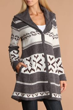 Willow & Clay Kolina Long Sleeve Cardigan Sweater In Ivory And Gray