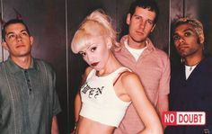 """A great band portrait poster of No Doubt when Gwen Stefani was """"Just A Girl""""! Published in 1996. Fully licensed. Ships fast. 22x34 inches. Check out the rest of our awesome selection of No Doubt poste"""