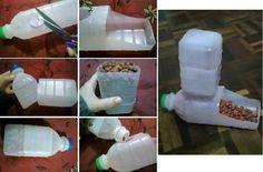 Los tarros de plástico se pueden convertir en un perfecto comedero para tus mascotas