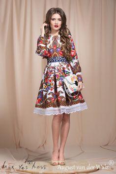 Russian dress. Floral dress. Dress a la Russe. Russian style. Dress with lace #Handmade #Clubwear