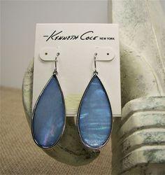 Kenneth Cole New York Denim Days Shell Stone Silver Tone Teardrop Earrings #KennethCole #DropDangle