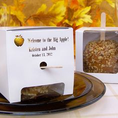 Personalized white cardboard candy apple favor boxes are perfect for holding one candy or caramel apple printed with your choice of over 45 vivid imprint color choices.