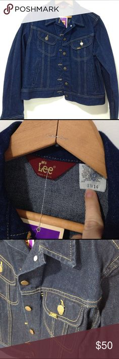 Vintage NWT Ms. Lee demin jean jacket 13/14 M L NWT vintage demin jacket. Pristine condition! Has been sitting in a closet since the late 1970's or early 1980's. Made by Ms.Lee brand it was union made right here in the United States! This jacket is screaming for your pin or patch collection. Labeled as size 13/14. Would fit Medium or large. Lee Jackets & Coats Jean Jackets