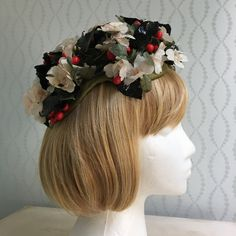 Vintage Spring Floral Hat with Berries by PurpleIrisVintage on Etsy
