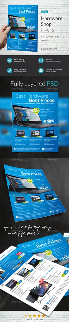 Computer Hardware Shop Flyer Template — Photoshop PSD #photoshop #product