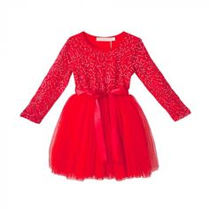 Red Sequin Matilda A-Line Dress - Infant Toddler & Girls Infant Toddler, Toddler Girls, Barn, Dresses With Sleeves, Matilda, Long Sleeve, Products, Fashion, Moda