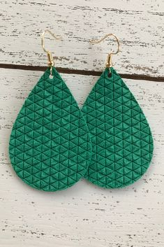 Handmade, lightweight, affordable leather earrings by Aces And Eights, Nice Jewelry, Leather Earrings, Green Leather, Wildflowers, Emerald Green, Headbands, Crochet Earrings, Etsy Seller