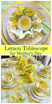 Although many of us won't be able to celebrate Mother's Day gathered around a table with our moms, I still wanted to design a tablescape . Yellow Dinner Plates, Yellow Bowls, Lemon Party, Lemon Kitchen, Dinner Themes, Taper Candles, Tablescapes, Dinner Recipes, Table Settings