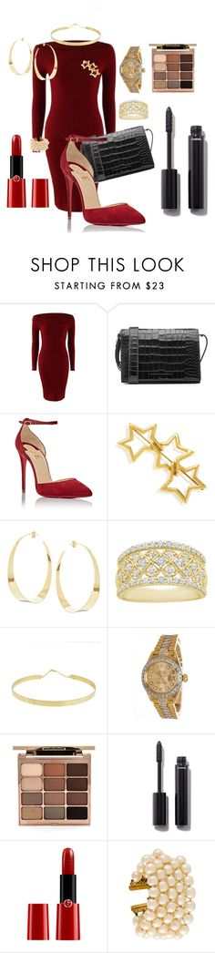 """Red for Christmas"" by agneslaurens ❤ liked on Polyvore featuring Victoria Beckham, Christian Louboutin, Tiffany & Co., Lana, Rolex, Stila, Chanel and Giorgio Armani"