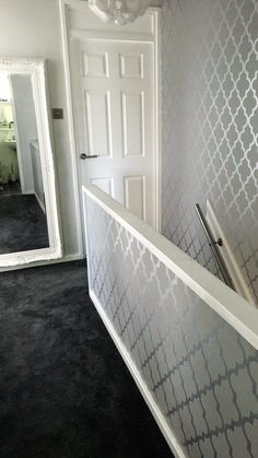 home wallpaper HENDERSON INTERIORS Camden Trellis Wallpaper in Soft Grey and Silver A beautiful, unique twist to glam up your home. Grey Wallpaper Hallway, Silver Marble Wallpaper, Wallpaper Stairs, Hallway Walls, Upstairs Hallway, Hallways, Grey And White Hallway, Stair Landing Decor, Stairs