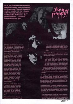 German article, Skinny Puppy, Zillo magazine Front 242, Industrial Music, Skinny Puppy, Young Lad, Music Industry, All About Time, German, Old Things, Puppies