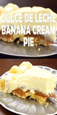 This Dulce de Leche Banana Cream Pie recipe has it all! Graham Cracker crust top… This Dulce de Leche Banana Cream Pie recipe has it all! Graham Cracker crust topped with dulce de leche and bananas with a no bake banana cheesecake filling! Banana Cheesecake, Cheesecake Recipes, Cookie Recipes, Sweets Recipes, Easter Recipes, Sopapilla Cheesecake Pie, Woolworth Cheesecake Recipe, Cheesecake Cupcakes, No Bake Desserts