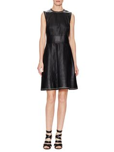 Leather Fit & Flare Dress  from Balenciaga Apparel on Gilt