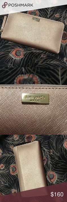 Rose Gold Kate Spade Wallet Brand new with tag, never used. Gorgeous metallic rose gold leather with light texture. Features sturdy zipper around 3/4 of the exterior, a pocket on the outside back, several divisions on the inside including a coin purse and lots of card slots.  Absolutely beautiful! I am letting this beauty go because it has been sitting in my closet for too long while I've been using my other Kate Spade wallet. kate spade Bags Wallets
