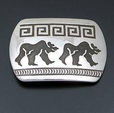 Rosco Scott (Navajo) - Double Walking Bear Sterling Silver Rectangular Belt Buckle #41455 $240.00