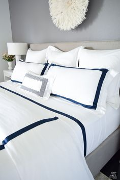 Creating a Cozy Home With the Perfect Bedding + Room Reveal Black Bedroom Sets, Trendy Bedroom, White Bedroom, Master Bedroom, Luxury Duvet Covers, Luxury Bedding Sets, Modern Bedding, White And Navy Bedding, Bedding Inspiration